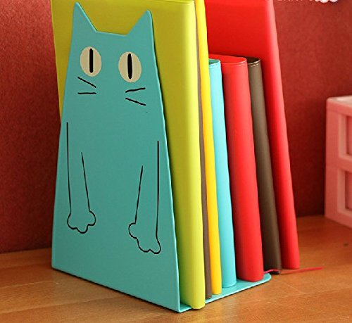 Nonskid Base Bookends, Universal Economy Bookend, Jumbo Deluxe Bookends, Office Products, School Supplies, Gift, Art; 2 PCS, Metal Book Stand, Cat Shape, 14*20.5*10.5cm, Blue