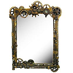 Pacific Giftware Steampunk Gearwork Time Travel Wall Sculptural Mirror 22 Inch Tall Decorative Steampunk Accent