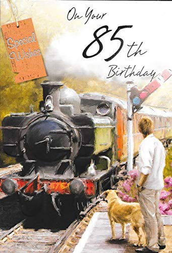 ON Youre 85TH 85 Birthday Card ***Male***STEAM Train Theme**1ST Class Post**AB5**