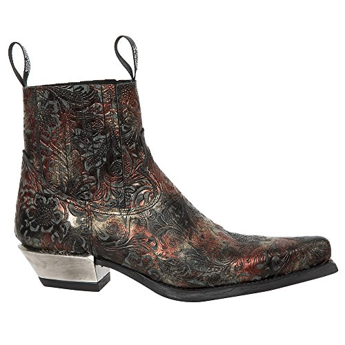 S22 Punk Cowboy Red Women's 7953 Heel Ankle Men's Ladies Boots Western Gothic Heavy Rock Leather New M Unisex TqwOTt