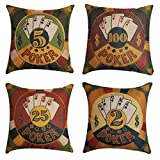 NING Sofa Decorative Throw Pillow Case Set of 4 Cotton Linen Cushion Cover 18X18 Inches (Poker)