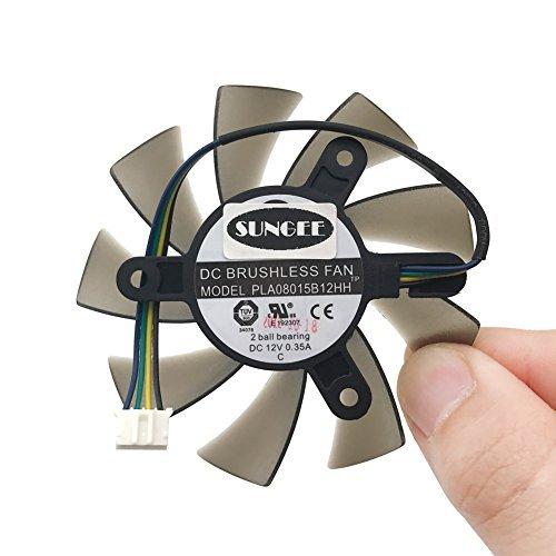 Vga Fan (75mm PLA08015B12HH DC 12V 0.35A PWM 4pin 4wire 2 Ball Bearing GPU VGA Graphics Video Card GTX550Ti Cooling Fan)