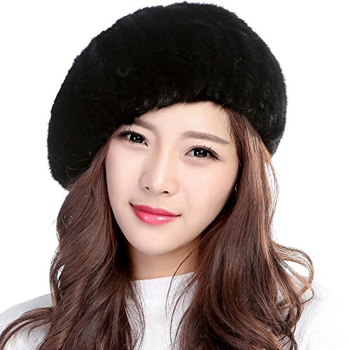 Valpeak Womens Winter Berets Strong Elasticity Knitted Mink Beret (Black)