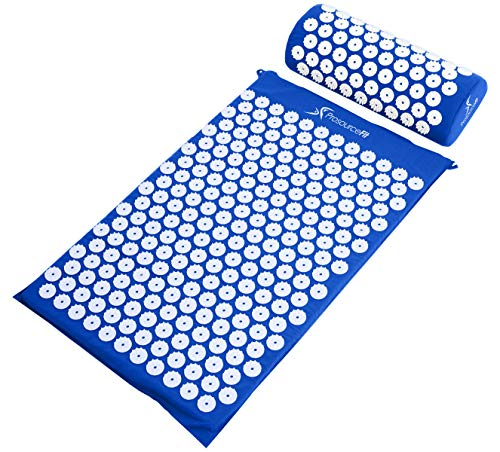 ProSource Acupressure Mat and Pillow Set for Back/Neck Pain Relief and Muscle Relaxation, Blue (Pillow Z Massager)