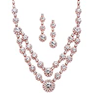 Blush Rose Gold 2-Row Rhinestone Crystal Necklace Earrings Set for Prom, Brides & Bridesmaids