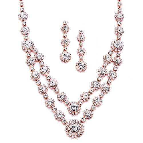Mariell Rose Gold 2-Row Rhinestone Crystal Necklace Earrings Set For Prom, Brides & Bridesmaids Jewelry