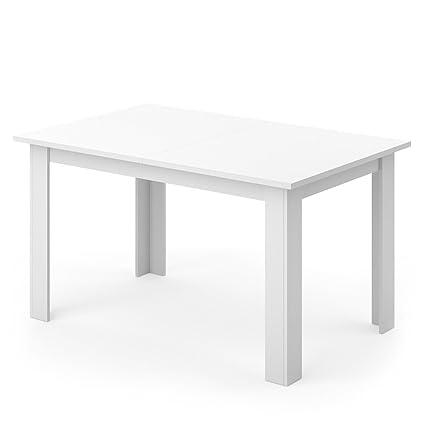 Esstisch nussbaum glas  VICCO Esstisch KARLOS 140cm Weiß Nussbaum Esszimmertisch Wohnzimmer  Küchentisch +++ mit kratzfester robuster Melaminharz-Oberfläche +++ (Weiß)