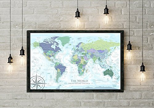 The Humboldt World Map in Modern Light Colors - Use as a Wall Map or Push Pin Map - Framed Wall Map or Pin Map, Modern World Map | Personalized Map, includes 100 map pins. - Personalized World Map With Pins