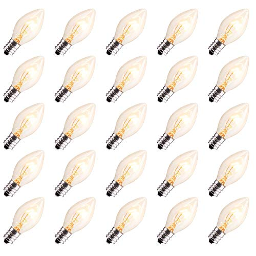 Brightown 50 Pack C7 Christmas Replacement Light Bulbs, C7 Clear Incandescent Bulb for Christmas String Light, E12 Candelabra Base, 5 Watt, Clear