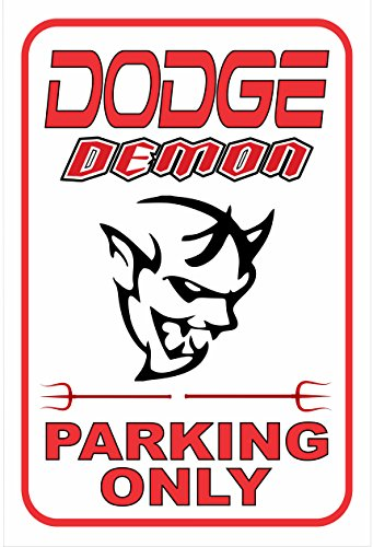 Dodge Demon Parking Sign White And Red  12  X 18  Aluminum Sign