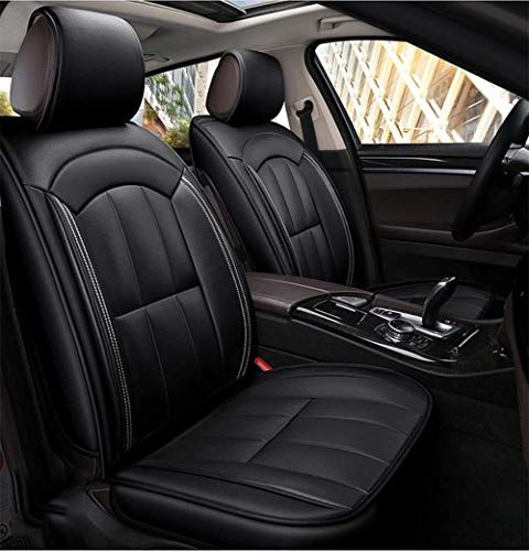 ZHAS Complete set leather seats, waterproof and abrasion-resistant leather seat cover, Four Seasons Universal, black: