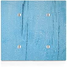 Blue Painted Vintage Old Wood Double Blank Electrical Switch Plate