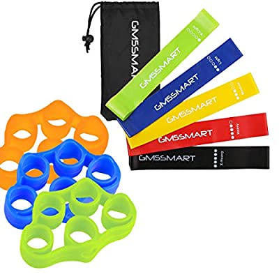 GM5SMART Resistance Bands, Exercise Bands,Exercise Loops Fitness-Physical Therapy or Workout Bands with Instruction Guide,Carry Bag,Set of 5