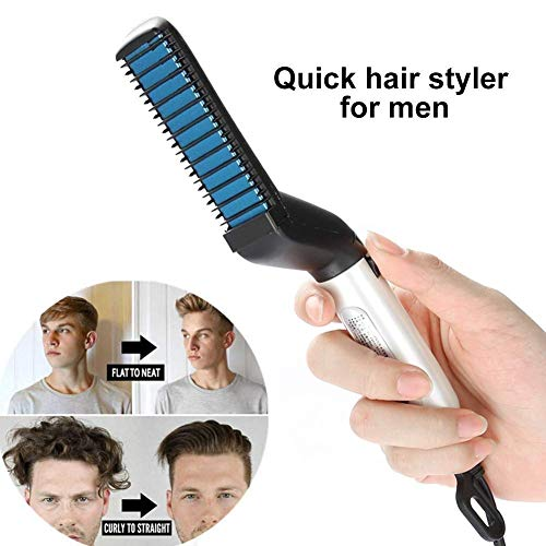 Men Quick Beard Straightening Styler,Hair Comb for Man, Electric Hair Straightening Comb Styling Comb Hair Straightener Heat Brush Magic Comb Electric Hair Tool for ()