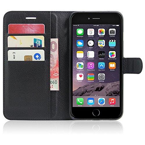 Funda iPhone 7 Plus Cuero PU Silicona Flip Wallet Premium Híbrido Protector Colores Del Caramelo Caso Carcasa para Teléfono Apple iPhone 7 Plus Case 5.5 Pulgada negro