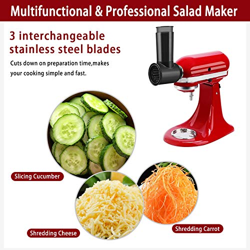 Slicer Shredder Attachment for Kitchenaid Stand Mixer, Replace Kitchenaid Shredder Accessories, Cheese Grater Attachment as Kitchenaid Attachments for Mixer with 3 Blades (Black)