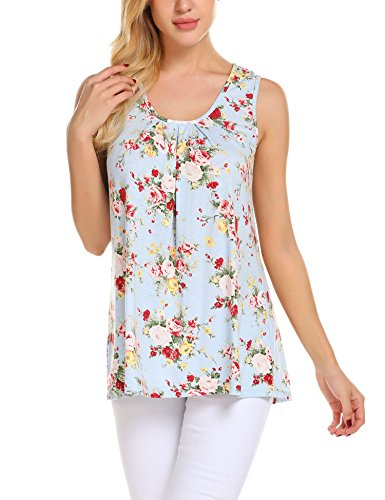 Zeagoo Womens Sleeveless Scoop Neck Flowy Loose Fit Floral Tunic Tank Top,Pat6,X-Large