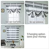 MEIYIMI Balloon Shades Rugby Striped Curtain Tie Up - Shade Valance Window Panels for Living Room and Bedroom - Black One Panel W46×L63