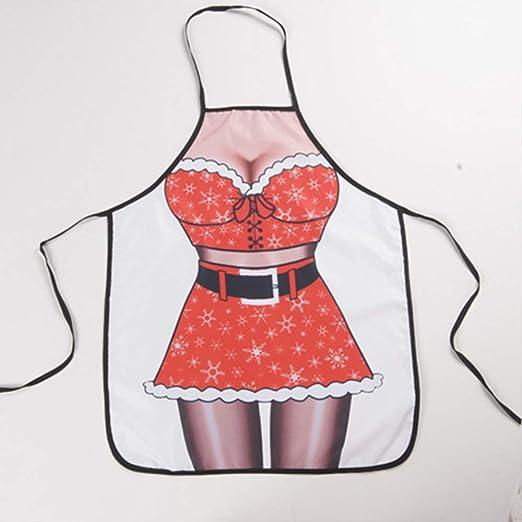 mhde Delantales 1 Piezas Moda Mujer Hombres Navidad Delantal ...