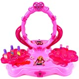 Velocity Toys Fashion Girl Table Top Pretend Play Battery Operated Toy Beauty Mirror Vanity Play Set w/ Flashing Lights, Sounds, Accessories
