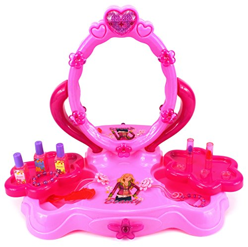 UPC 637801784176, Velocity Toys Fashion Girl Table Top Pretend Play Battery Operated Toy Beauty Mirror Vanity Play Set w/ Flashing Lights, Sounds, Accessories