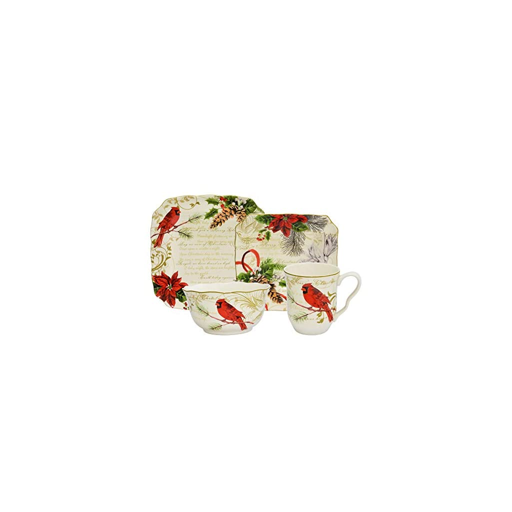 Holiday Wishes Red 16 Piece Dinnerware Set