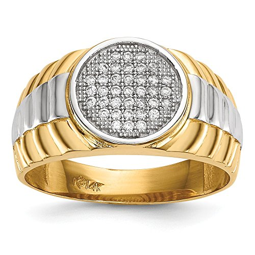 14k Yellow Gold Mens Micro Cubic Zirconia Cz Round Band Ring Size 10.00 Signet Man Fine Jewelry Gift For Dad Mens For Him