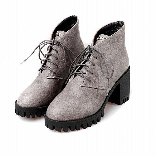 Latasa Donna Con Borchie Stringate Tacco Alto Alla Caviglia Oxford Stivali Grigio Chiaro