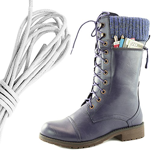 Dailyshoes Womens Combat Style Lace Up Ankle Bootie Round Toe Military Knit Credit Card Knife Money