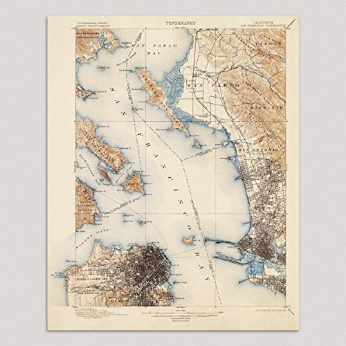 Old San Francisco Map Art Print, 1899, Vintage USGS Topographic Map, Archival Reproduction, Unframed ()
