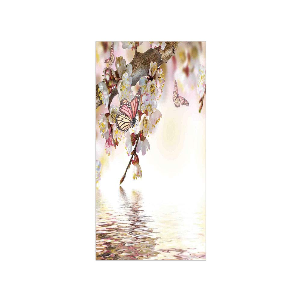 Decorative privacy window film natural floral japanese style garden cherry blossom sakura tree butterfly nature no glue self static cling for home bedroom