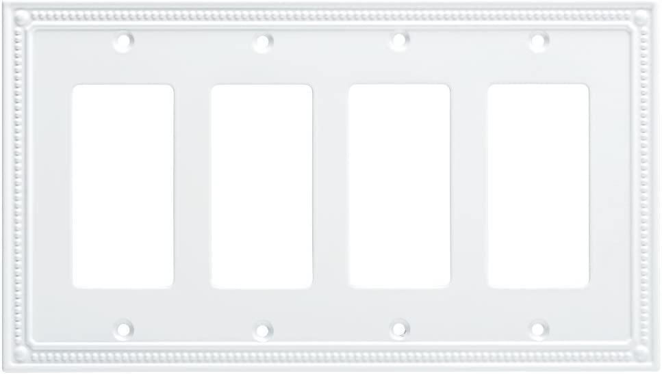 Franklin Brass W35069-PW-C Classic Beaded Quad Decorator Wall Plate/Switch Plate/Cover, White