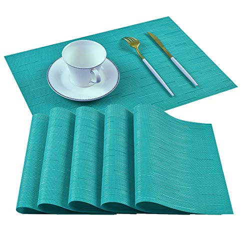 famibay PVC Place Mats - Heat Insulation PVC Placemats Stain-Resistant Woven Vinyl Table Mats for Kitchen (Set of 6, XZJ-Teal)