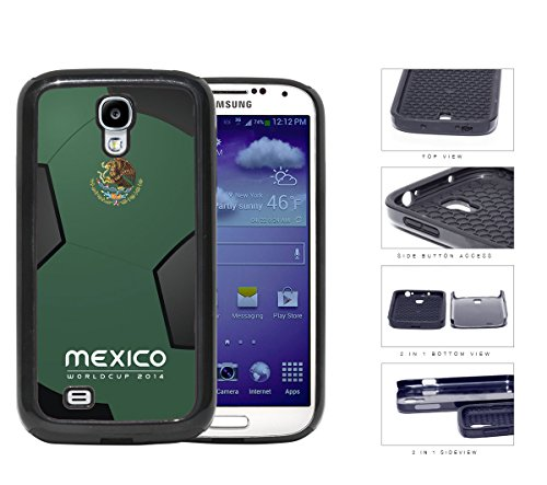 Mexico World Cup 2014 Soccer Sports with Green and Black Soccer Ball Background NUE Designs 2-Piece Dual Layer High Impact Rubber Silicone Cell Phone Case Samsung Galaxy S4 SIV I9500