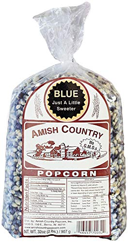 Amish Country Popcorn - Blue Popcorn (2 Pound Bag) - Old Fashioned, Non GMO, and Gluten Free - with Recipe Guide