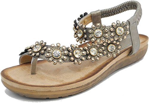 Boulevard Ladies Womens Diamante Flower Toe Post Sandals Pewter
