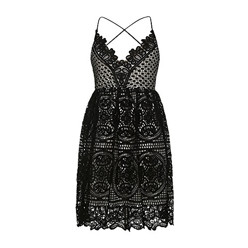 iLUGU Loose Knee-Length Dress for Women Sleeveless V-Neck Shoulder-Straps Lace Formal Prom Party Wedding Ball Gown (Vintage Sweatshirt Glamour)