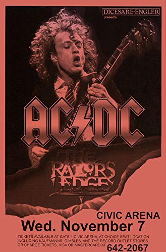 AC/DC Razor's Edge Tour, 1990 Retro Art Print — Poster Size — Print of Retro Concert Poster — Features Brian Johnson, Angus Young, Malcolm Young, Cliff Williams, Chris Slade.