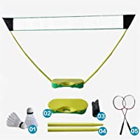 Portable Folding Badminton Set, with Badminton Racket, 3 In 1 Outdoor Tennis Badminton Volleyball Net, Physical Education Motion