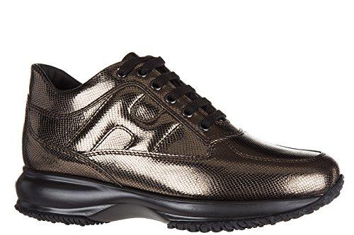 Hogan scarpe sneakers donna in pelle nuove interactive allacciata oro