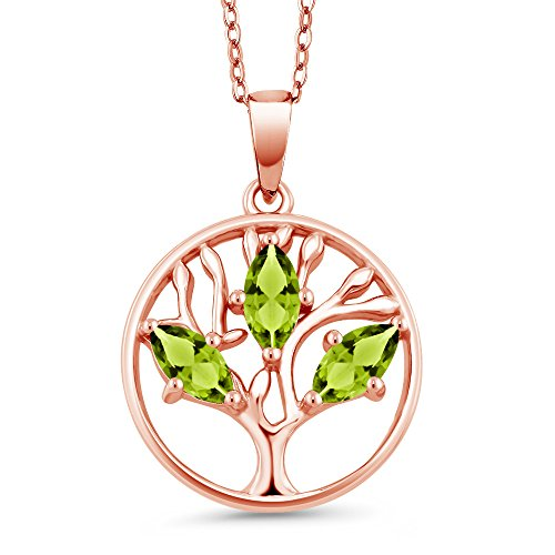 0.75 Ct Marquise Green Peridot 18K Rose Gold Plated Silver Tree of Life Pendant With Chain ()