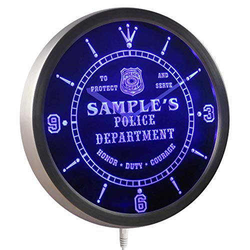 ADVPRO nctk-tm Name Personalized Custom Police Station Badge Bar Neon Sign LED Wall Clock