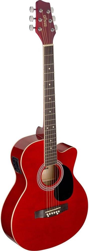 Guitarra acústica de auditorio Stagg, rojo