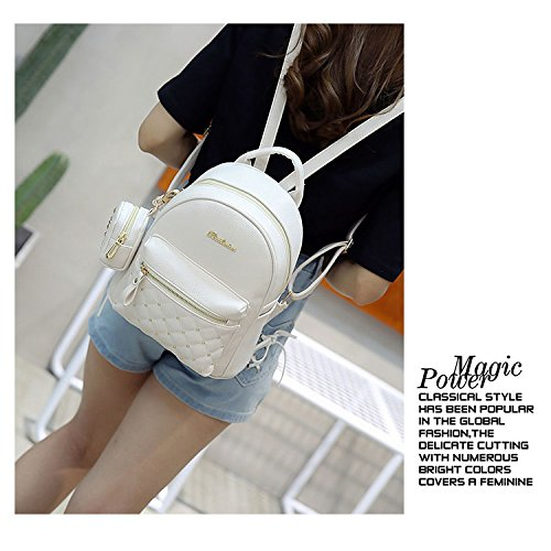 Women's Teenage Bag School Small Women's White Backpacks SODIAL Backpack Bags Bag PU Lady white Leather for Retro xXIqI0Ywv
