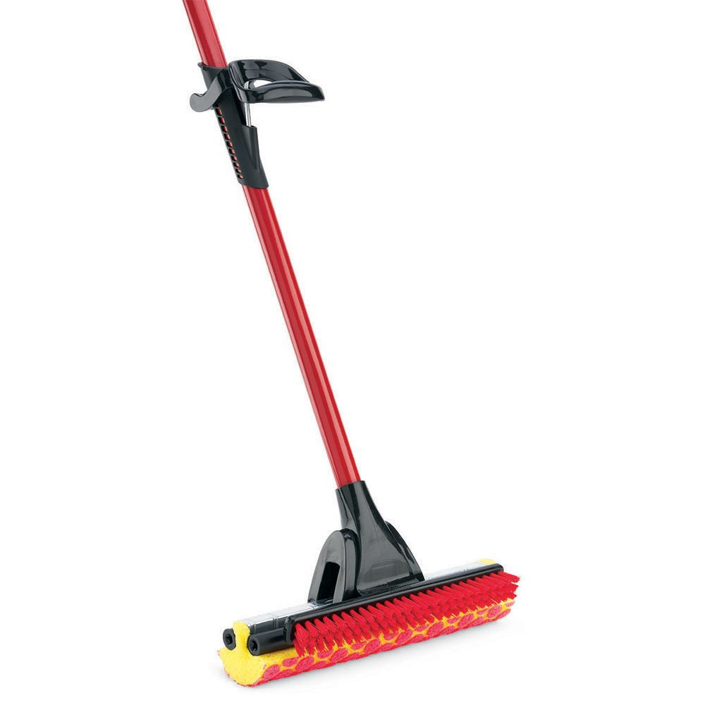 Libman Commercial 955 Roller Mop with Scrub Brush, Steel Handle, 12'' Wide sponge, Red and Black (Pack of 4) by Libman Commercial