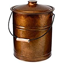 """Plow & Hearth Double Bottom Metal Fireplace Ash Bucket with Lid and Handle, 10"""" Diameter x 13"""" H, Copper"""
