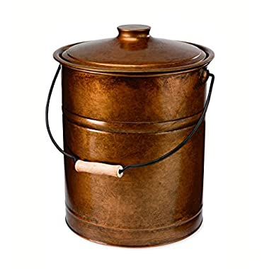Plow & Hearth Double Bottom Metal Fireplace Ash Bucket with Lid and Handle, 10  Diameter x 13  H, Copper