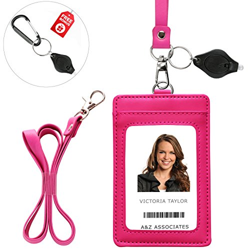 Lanyard Wallet with Genuine Leather Badge Holder with 1 ID Window & 2 Back Card Pockets. 17.5'' PU Leather Neck Strap. Carabiner Keychain Flashlight with Key Ring. Vertical Style. Rose Pink Color