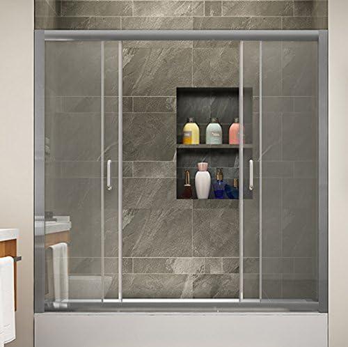 SUNNY SHOWER BP04P4 - Puertas de bañera semienmarcadas con dos puertas correderas centrales, cristal transparente de 1/4