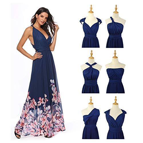 Rostiumise Women's Convertible Multiway Wrap Dresses V Neck Floral Print Maxi Long Dress(Blue,L) - Evening Gown Multi Colored